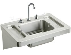 ELKAY ESLV2820W6C 28 L X 20 W X 7-1/2 D WALL HUNG LAVATORY SINK KIT WITH FAUCET, 3 FAUCET HOLES