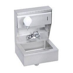 ELKAY EHS-18-TSX ECONOMY 18 L X 14-1/2 W X 22-3/8 H HAND SINK, FEATURING SOAP AND TOWEL DISPENSER, SKIRT AND PTRAP