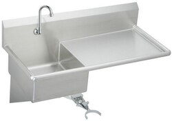 ELKAY ESS4924RKC STAINLESS STEEL 49-1/2 L X 24 W X 10 D WALL HUNG SERVICE SINK WITH FAUCET