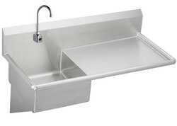 ELKAY ESS4924RSACC STAINLESS STEEL 49-1/2 L X 24 W X 10 D WALL HUNG SERVICE SINK WITH FAUCET