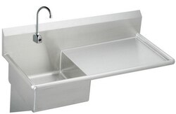 ELKAY ESS4924RSACMC STAINLESS STEEL 49-1/2 L X 24 W X 10 D WALL HUNG SERVICE SINK WITH FAUCET