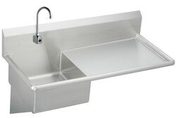 ELKAY ESS4924RSACTMC STAINLESS STEEL 49-1/2 L X 24 W X 10 D WALL HUNG SERVICE SINK WITH FAUCET