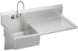 ELKAY ESS4924RW6C STAINLESS STEEL 49-1/2 L X 24 W X 10 D WALL HUNG SERVICE SINK WITH FAUCET