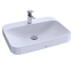 TOTO LT416.8G#01 ARVINA 23-5/8 INCH RECTANGLE VESSEL LAVATORY IN COTTON WITH 8 INCH FAUCET CENTERS