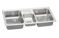ELKAY PSMR43224 PACEMAKER STAINLESS STEEL 43 L X 22 W X 7-1/8 D TRIPLE BOWL TOP MOUNT KITCHEN SINK, 4 FAUCET HOLES