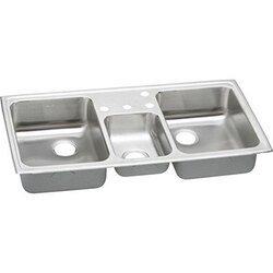 ELKAY PSMR43225 PACEMAKER STAINLESS STEEL 43 L X 22 W X 7-1/8 D TRIPLE BOWL TOP MOUNT KITCHEN SINK, 5 FAUCET HOLES