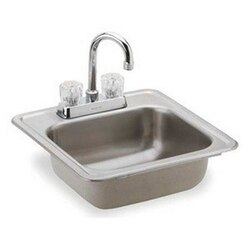 ELKAY KP211515C KINGSFORD STAINLESS STEEL 15 L X 15 W X 5-1/8 D TOP MOUNT BAR SINK WITH FAUCET, 2 FAUCET HOLES