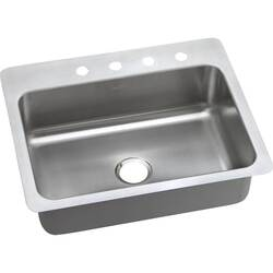 ELKAY DSESR127225 DAYTON STAINLESS STEEL 27 L X 22 W X 8 D UNIVERSAL MOUNT KITCHEN SINK, 5 FAUCET HOLES