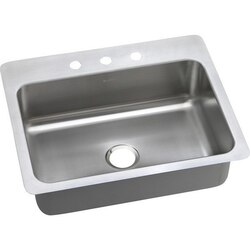 ELKAY DSESR127223 DAYTON STAINLESS STEEL 27 L X 22 W X 8 D UNIVERSAL MOUNT KITCHEN SINK, 3 FAUCET HOLES