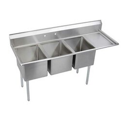 ELKAY E3C16X20-R-18X ECONOMY 72 1/2 IN THREE COMPARTMENT SINK WITH RIGHT 18 IN DRAINBOARD FEATURES