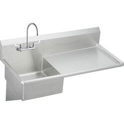 ELKAY ESS4924RW4C STAINLESS STEEL 49-1/2 L X 24 W X 10 D WALL HUNG SERVICE SINK WITH FAUCET