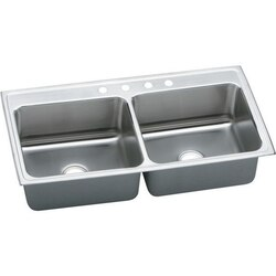 ELKAY DLR4322124 LUSTERTONE STAINLESS STEEL 43 L X 22 W X 12-1/8 D DOUBLE BOWL KITCHEN SINK, 4 FAUCET HOLES