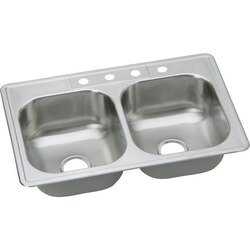 ELKAY DSE233214 DAYTON STAINLESS STEEL 33 L X 21-1/4 W X 8 D DOUBLE BOWL KITCHEN SINK, 4 FAUCET HOLES