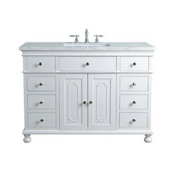 STUFURHOME HD-1013W-48-CR ABIGAIL EMBELLISHED 48 INCH WHITE SINGLE SINK BATHROOM VANITY