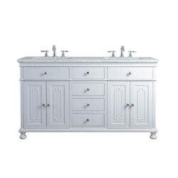 STUFURHOME HD-1013W-60-CR ABIGAIL EMBELLISHED 60 INCH WHITE DOUBLE SINK BATHROOM VANITY