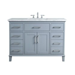 STUFURHOME HD-1475G-48-CR LEIGH 48 INCH GREY SINGLE SINK BATHROOM VANITY
