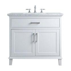 STUFURHOME HD-1475W-36-CR LEIGH 36 INCH WHITE SINGLE SINK BATHROOM VANITY
