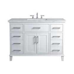 STUFURHOME HD-1475W-48-CR LEIGH 48 INCH WHITE SINGLE SINK BATHROOM VANITY