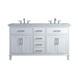 STUFURHOME HD-1475W-60-CR LEIGH 60 INCH WHITE DOUBLE SINK BATHROOM VANITY