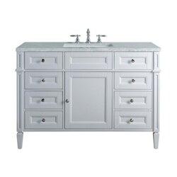 STUFURHOME HD-1524W-48-CR ANASTASIA FRENCH 48 INCH WHITE SINGLE SINK BATHROOM VANITY