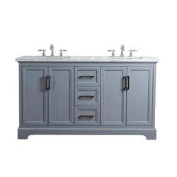 STUFURHOME HD-1525G-60-CR ARIANE 60 INCH SLATE GRAY DOUBLE VANITY CABINET DUAL BATHROOM SINKS