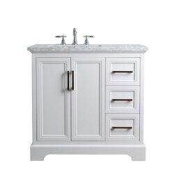 STUFURHOME HD-1525W-36-CR ARIANE 36 INCH WHITE SINGLE VANITY CABINET SINGLE BATHROOM SINK