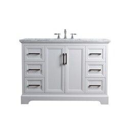 STUFURHOME HD-1525W-48-CR ARIANE 48 INCH WHITE SINGLE VANITY CABINET SINGLE BATHROOM SINK