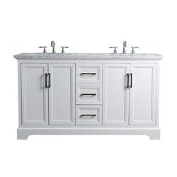 STUFURHOME HD-1525W-60-CR ARIANE 60 INCH WHITE DOUBLE VANITY CABINET DUAL BATHROOM SINKS
