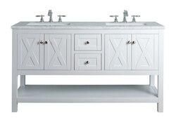 STUFURHOME HD-1527W-60-CR ANABELLE 60 INCH WHITE DOUBLE SINK BATHROOM VANITY