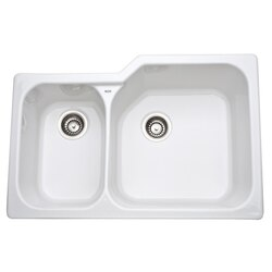 ROHL 6339 ALLIA FIRECLAY 33 INCH FIRECLAY 2 BOWL UNDERMOUNT KITCHEN SINK