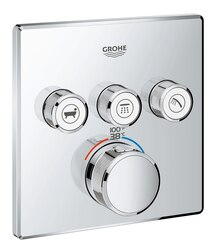GROHE 29142000 GROHTHERM SMARTCONTROL TRIPLE FUNCTION THERMOSTATIC TRIM WITH CONTROL MODULE IN STARLIGHT CHROME