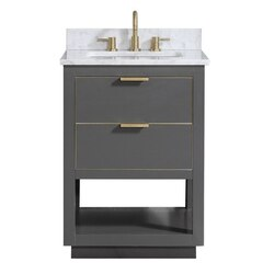 AVANITY ALLIE-VS25-TGG-C ALLIE 25 INCH VANITY COMBO IN TWILIGHT GRAY WITH GOLD TRIM AND CARRARA WHITE MARBLE TOP