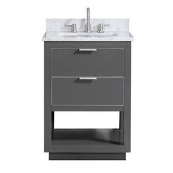 AVANITY ALLIE-VS25-TGS-C ALLIE 25 INCH VANITY COMBO IN TWILIGHT GRAY WITH SILVER TRIM AND CARRARA WHITE MARBLE TOP