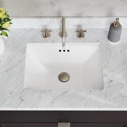 RONBOW 200561-WH SHADOW RECTANGULAR 19.69 W X 14.57 D INCH UNDERMOUNT CERAMIC SINK WITH OVERFLOW IN WHITE