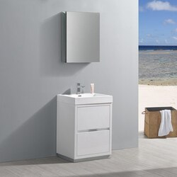 FRESCA FVN8424WH VALENCIA 24 INCH GLOSSY WHITE FREE STANDING MODERN BATHROOM VANITY WITH SINK, FAUCET AND MEDICINE CABINET