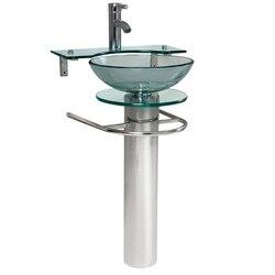 FRESCA CMB1019-V OVALE 24 INCH MODERN GLASS BATHROOM PEDESTAL