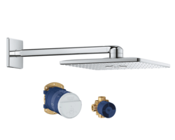 GROHE 26504000 RAINSHOWER 310 SMARTACTIVE CUBE 12-3/16 INCH SHOWER HEAD SET WITH TWO SPRAYS IN STARLIGHT CHROME