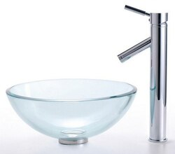 KRAUS C-GV-101-14-12MM-1002CH CLEAR 14 INCH GLASS VESSEL SINK AND SHEVEN FAUCET
