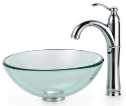 KRAUS C-GV-101-14-12MM-1005SN CLEAR 14 INCH GLASS VESSEL SINK AND RIVIERA FAUCET IN SATIN NICKEL