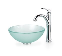 KRAUS C-GV-101FR-14-12MM-1005SN FROSTED 14 INCH GLASS VESSEL SINK AND RIVIERA FAUCET IN SATIN NICKEL