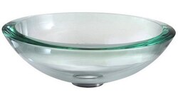 KRAUS GV-150-19MM CLEAR 17 INCH 34MM EDGE GLASS VESSEL SINK WITH PU-MR