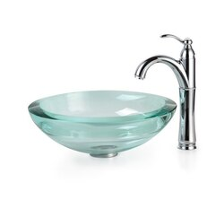 KRAUS C-GV-150-19MM-1005SN CLEAR 17 INCH 34MM EDGE GLASS VESSEL SINK AND RIVIERA FAUCET IN SATIN NICKEL