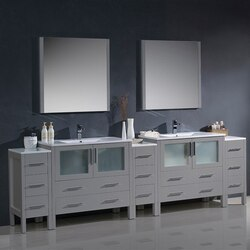 FRESCA FVN62-108GR-UNS TORINO 108 INCH GRAY MODERN DOUBLE SINK BATHROOM VANITY WITH 3 SIDE CABINETS AND INTEGRATED SINKS