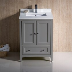FRESCA FCB2024GR-CWH-U OXFORD 24 INCH GRAY TRADITIONAL BATHROOM CABINET WITH TOP AND SINKS
