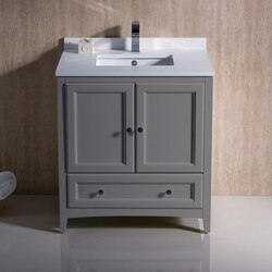 FRESCA FCB2030GR-CWH-U OXFORD 30 INCH GRAY TRADITIONAL BATHROOM CABINET WITH TOP AND SINK