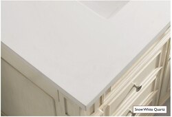 JAMES MARTIN 050-S60-SNW-ST 60 INCH SNOW WHITE QUARTZ SOLID TOP, NO CUT OUTS, 3 CM