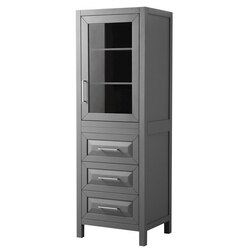 WYNDHAM COLLECTION WCV2525LTKG DARIA LINEN TOWER IN DARK GRAY WITH SHELVED CABINET STORAGE AND 3 DRAWERS
