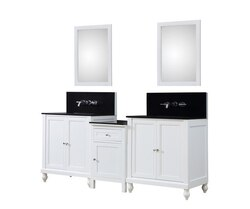 DIRECT VANITY SINK 2S9-WBK-WM-MU1 CLASSIC SPA PREMIUM 83 INCH BATH AND MAKEUP HYBRID VANITY IN WHITE WITH GRANITE VANITY TOP INBLACK WITH BASIN AND MIRRORS