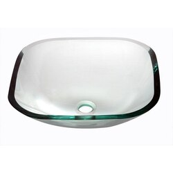 DAWN GVB84001 16-1/4 INCH SQUARE NATURALLY CLEAR TEMPERED GLASS VESSEL SINK