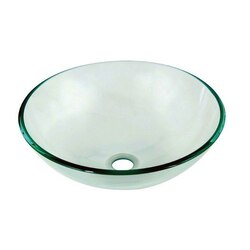 DAWN GVB84007 16-1/2 INCH ROUND NATURALLY CLEAR TEMPERED GLASS VESSEL SINK
